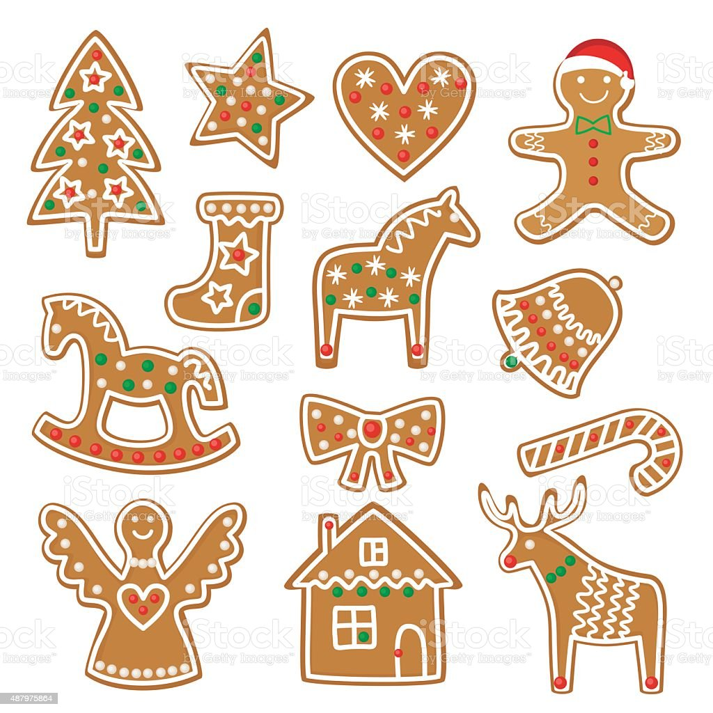 Christmas cookies collection with gingerbread and cookies figures isolated vector art illustration