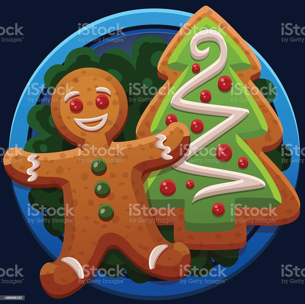 Рождественское печенье значки векторная иллюстрация