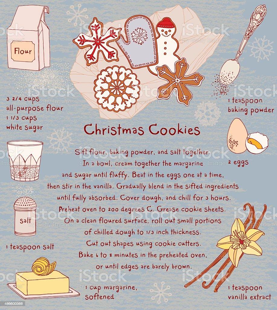 Christmas Cookies. Recipe card. vector art illustration