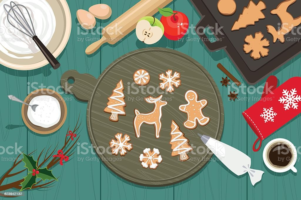 Christmas cookies vector art illustration