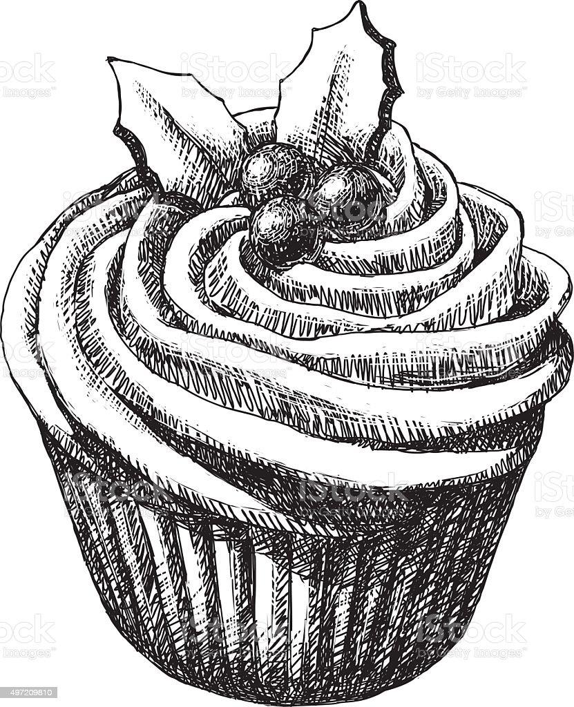 Christmas Cup Cake vector art illustration