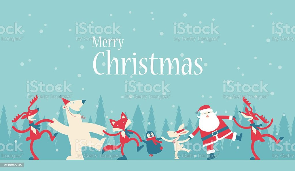 Christmas Dancing vector art illustration