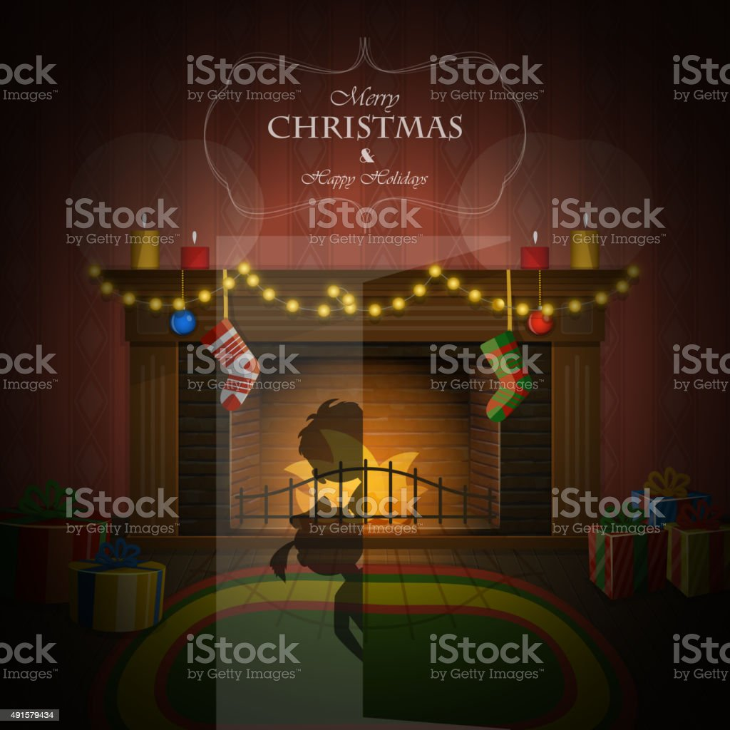 Christmas decorated fireplace vector illustration. vector art illustration