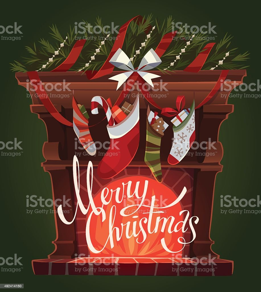 christmas decorated fireplace with socks stock vector art