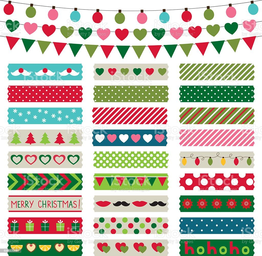 Christmas decoration and washi tapes set vector art illustration