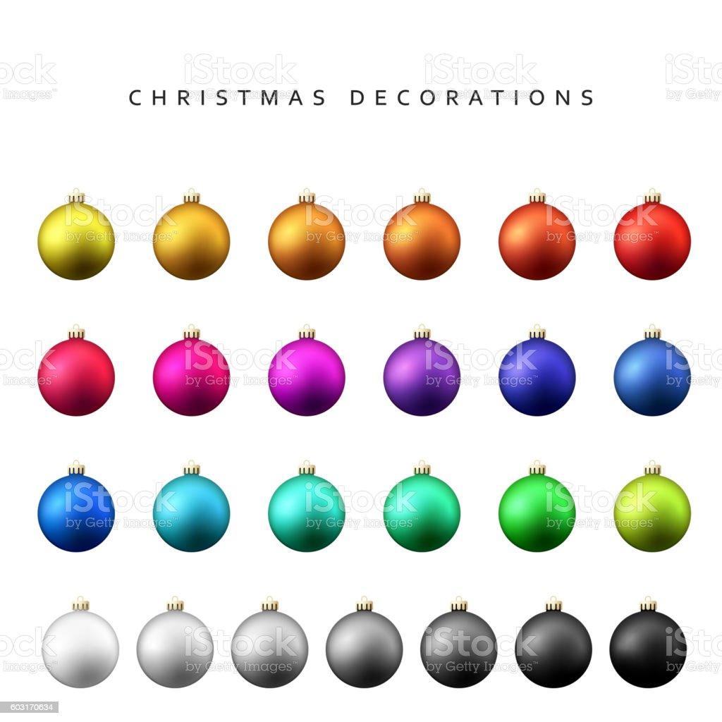 Christmas decoration balls range. vector art illustration