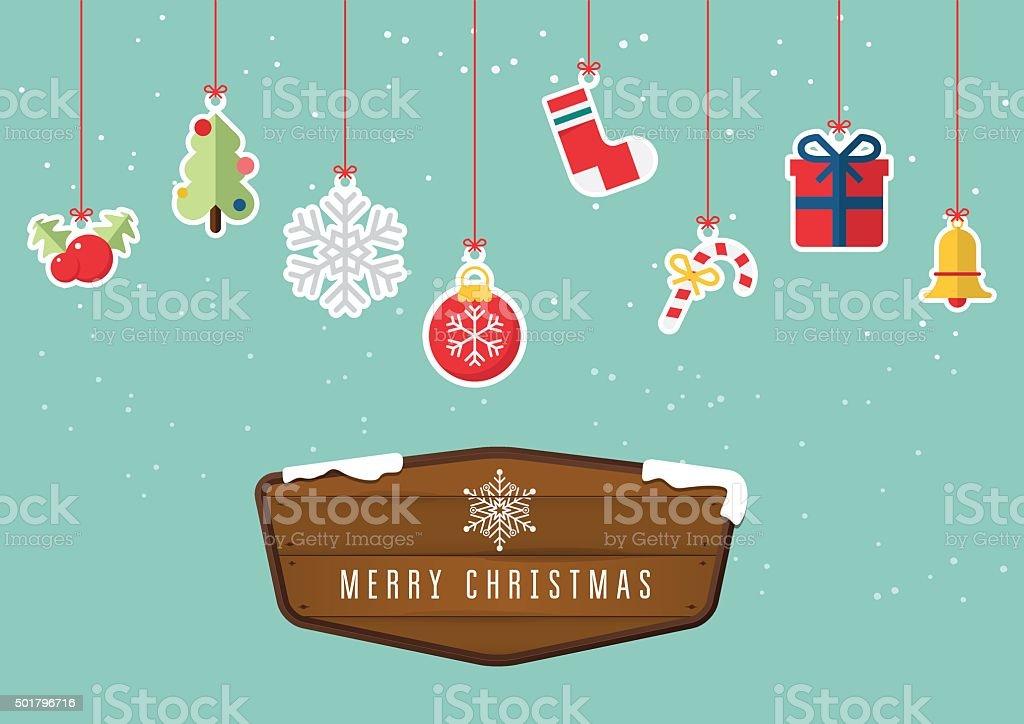 Christmas decoration element hanging on sky background. vector art illustration