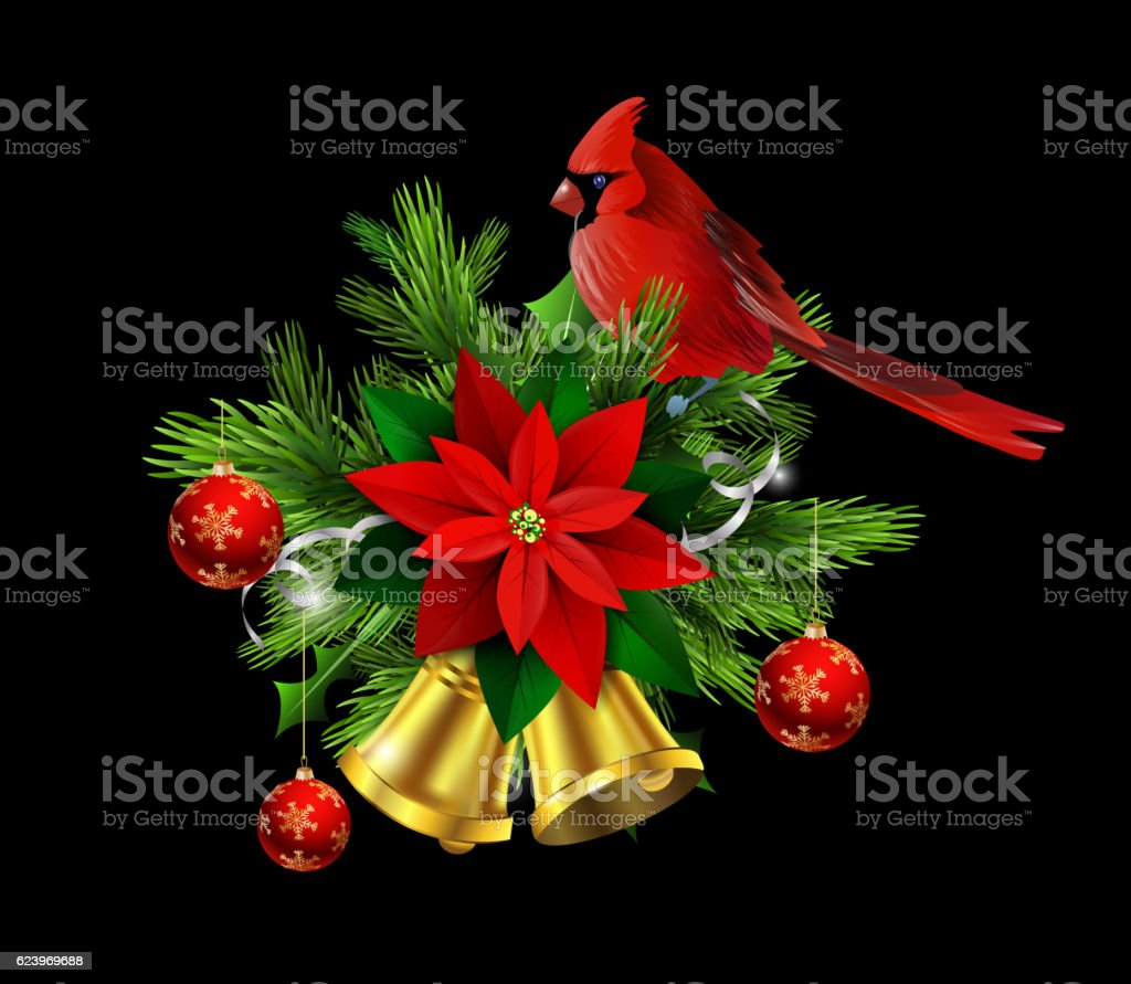 Christmas decoration evergreen trees and bells vector art illustration