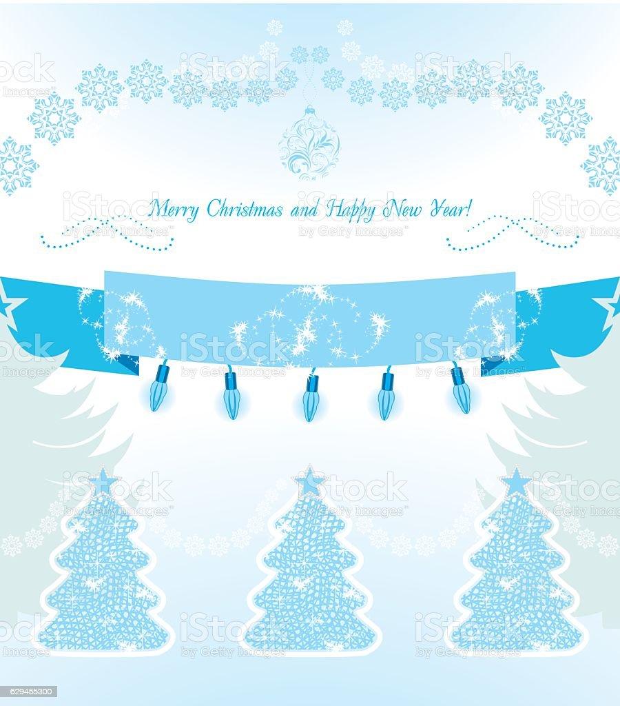 Christmas decoration on the light blue background. Postcard vector art illustration