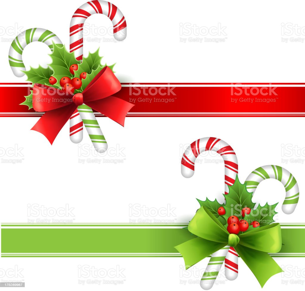 Christmas decoration ribbon with holly and candy royalty-free stock vector art