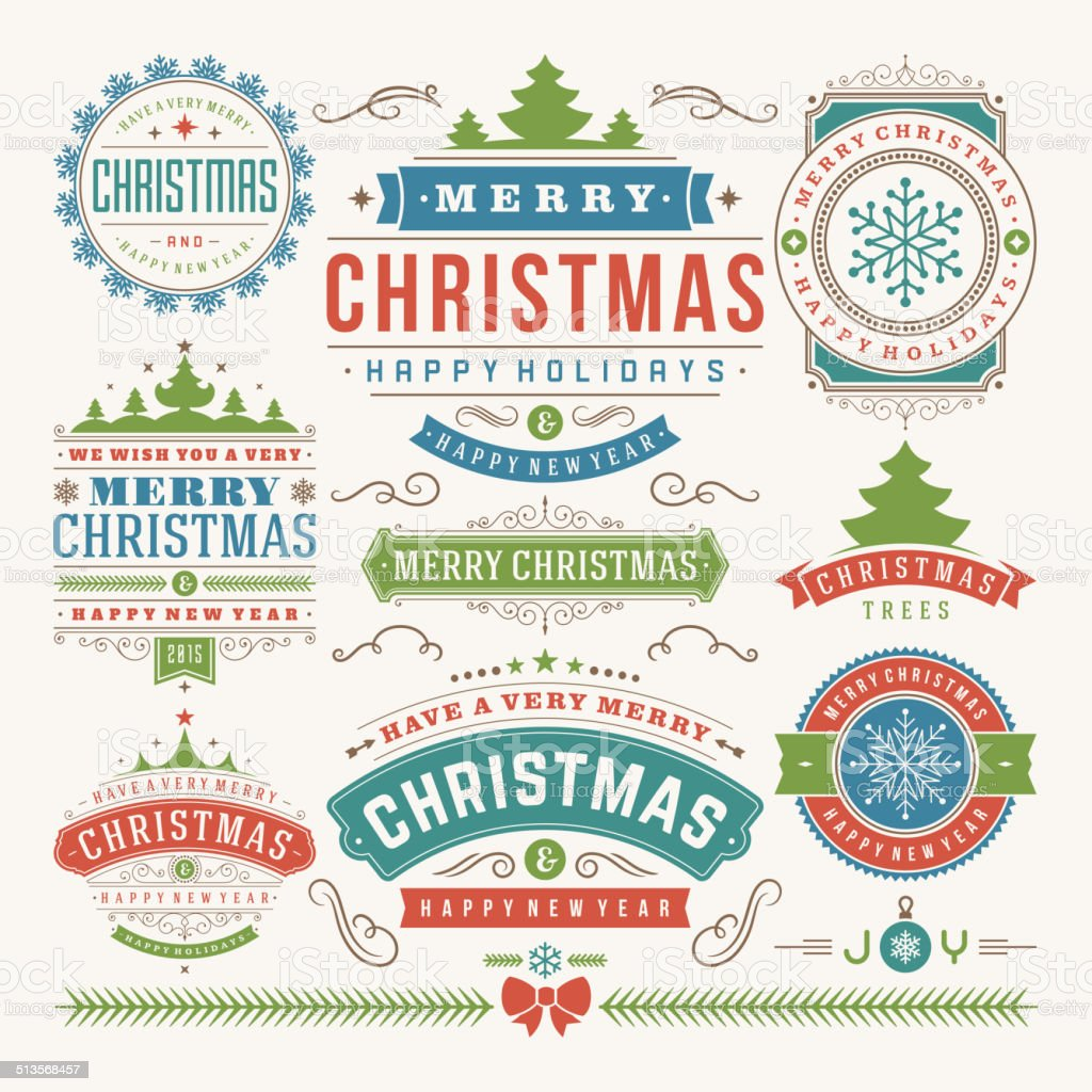 Christmas decoration vector design elements vector art illustration