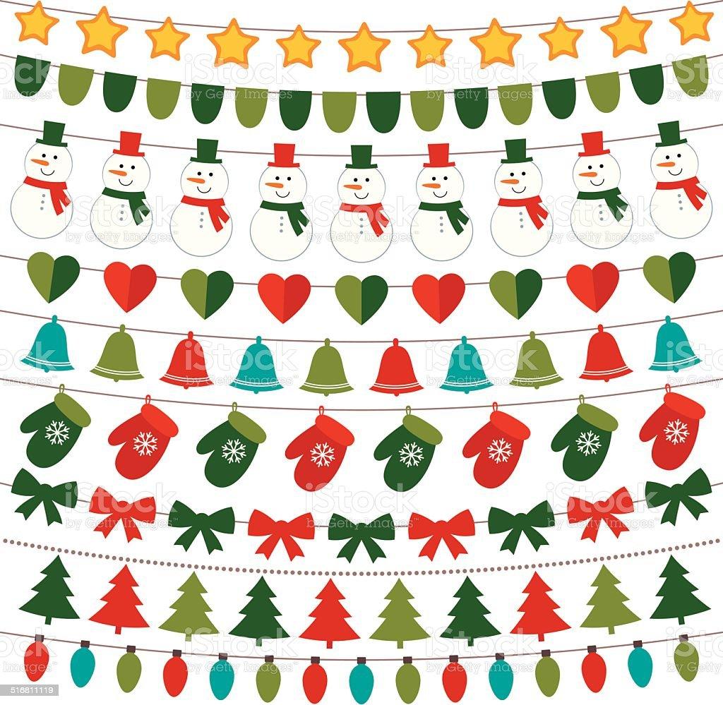 Christmas decoration vector set vector art illustration