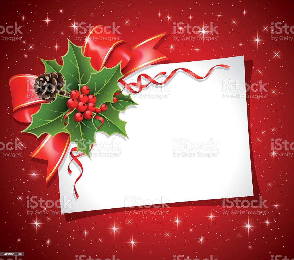 Christmas decoration with Blank card vector art illustration