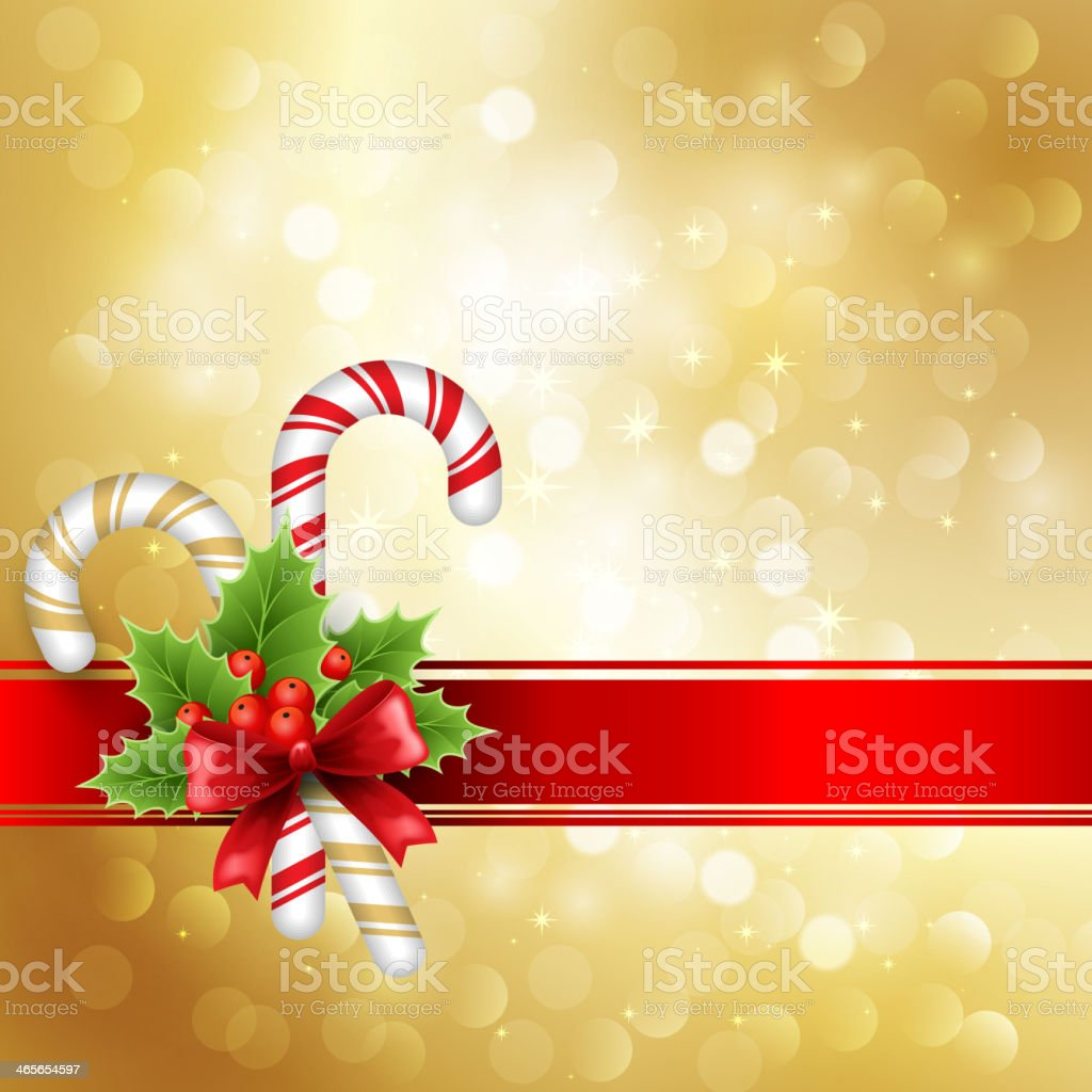Christmas decoration with holly and bow royalty-free stock vector art