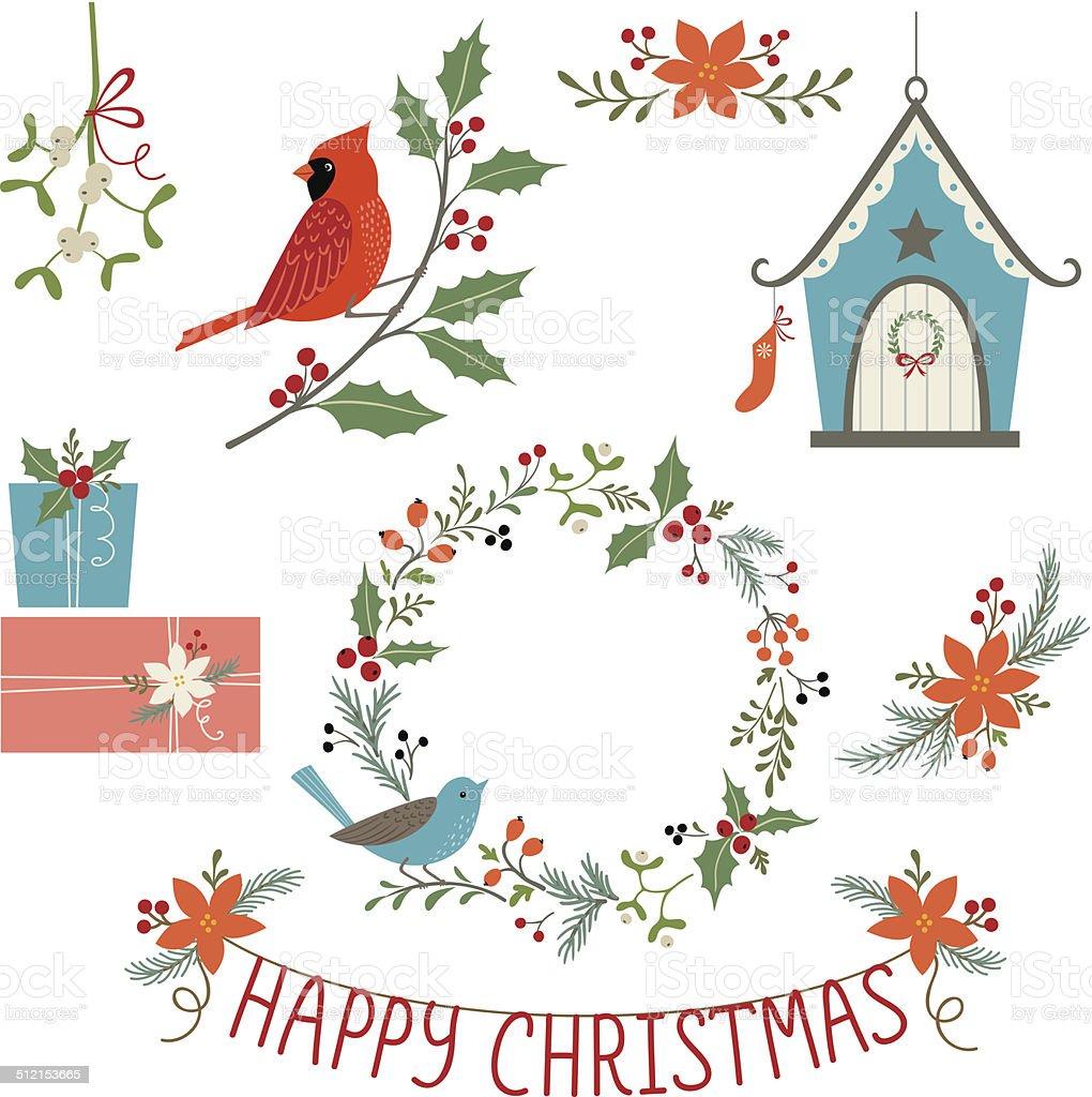 Christmas decorations and birds vector art illustration