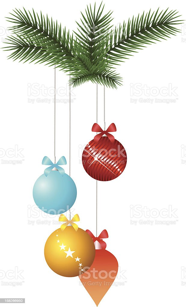 Christmas decorations and fir tree branches royalty-free stock vector art