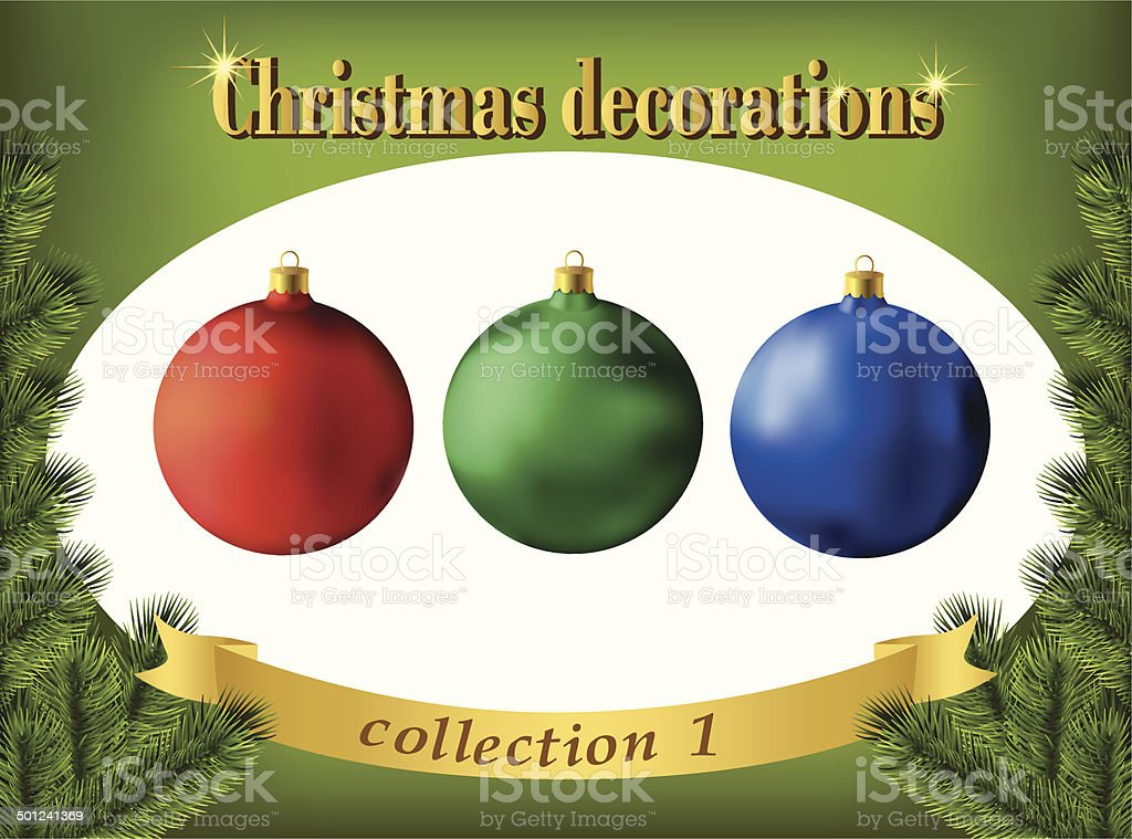 Christmas decorations. Collection of color glass balls royalty-free stock vector art