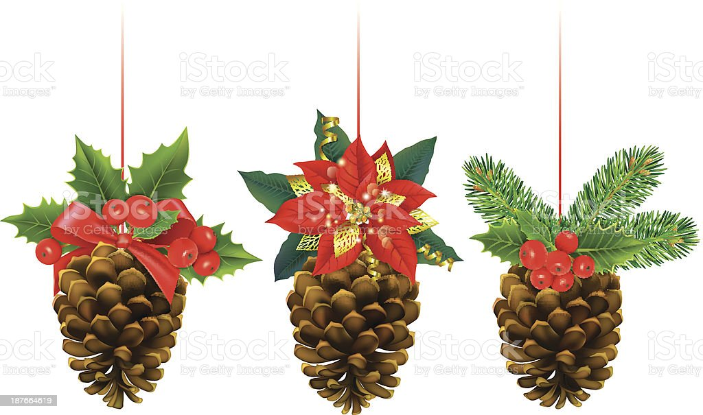Christmas decorations from pine cones vector art illustration