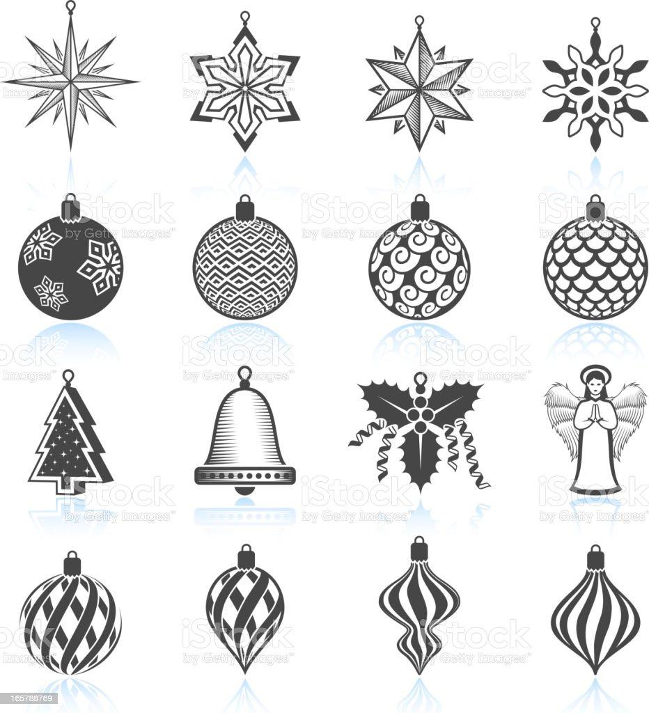 Christmas ornament black and white - Christmas Decorations Ornaments Black And White Royalty Free Vector Icon Set Royalty Free