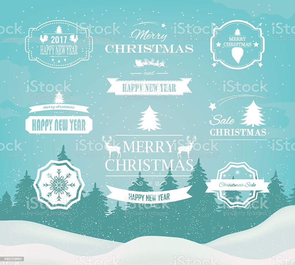 Christmas Decorations Vector Design Elements. Symbols, Icons, Vintage Labels, Badges, royalty-free stock vector art