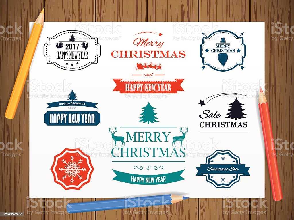 Christmas Decorations Vector Design Elements. Symbols, Icons, Vintage Labels, royalty-free stock vector art