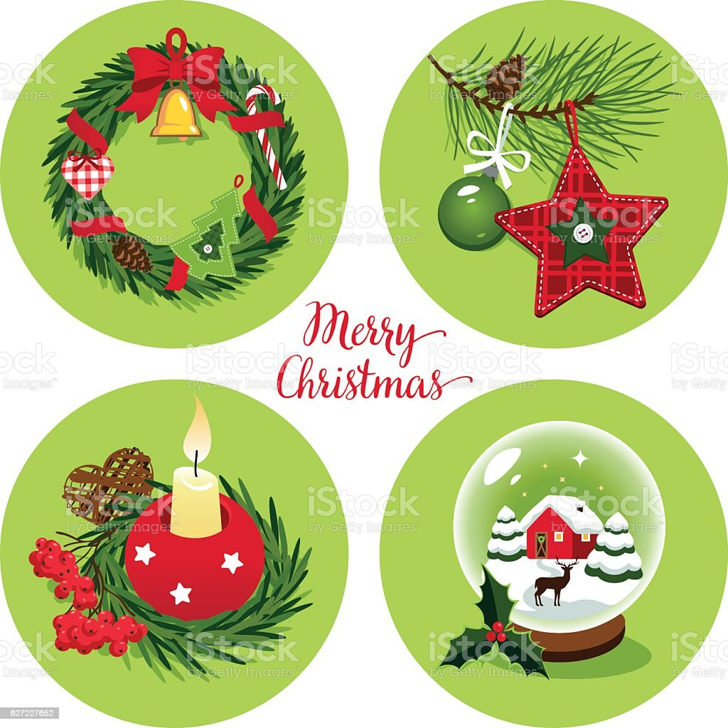 Christmas decorations vector art illustration