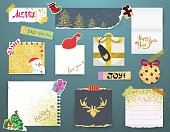 Christmas decorative elements, paper banners and stickers.