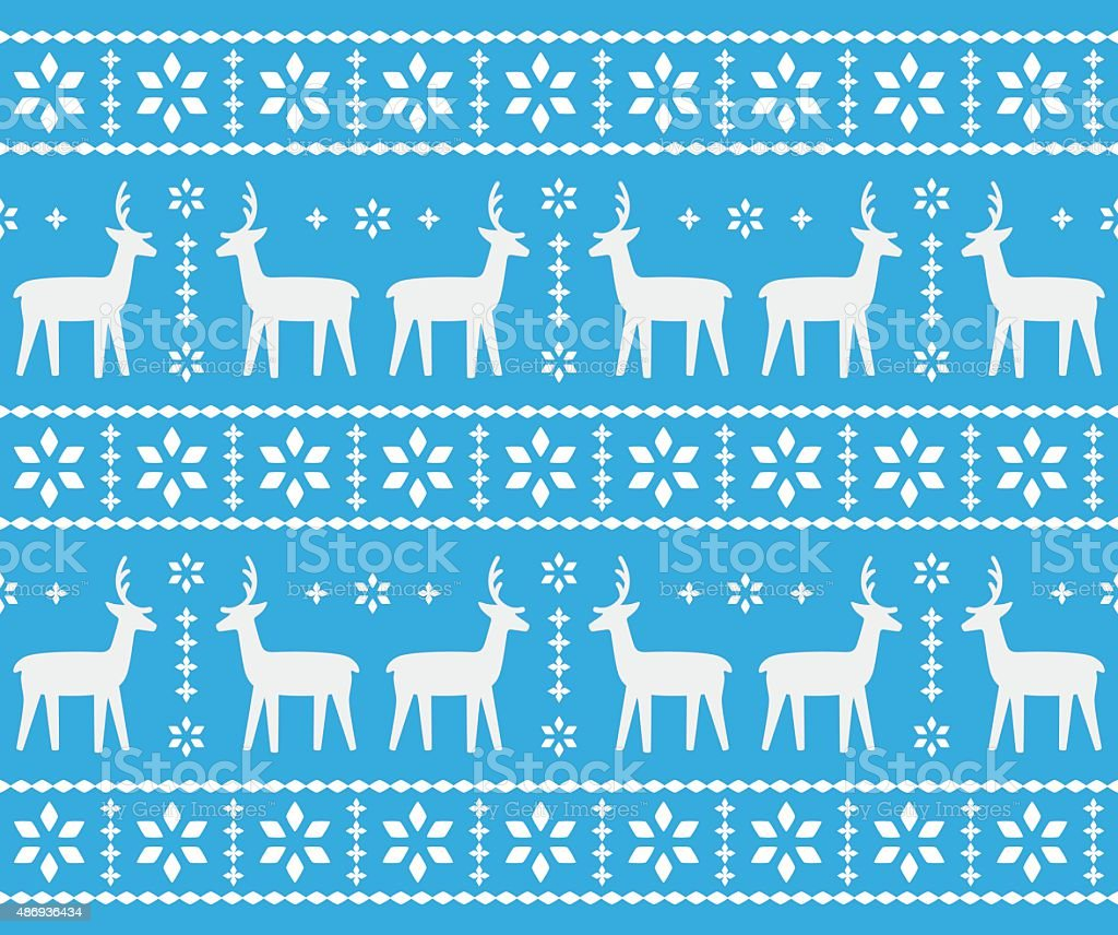 Christmas deer and snowflake pattern design vector art illustration