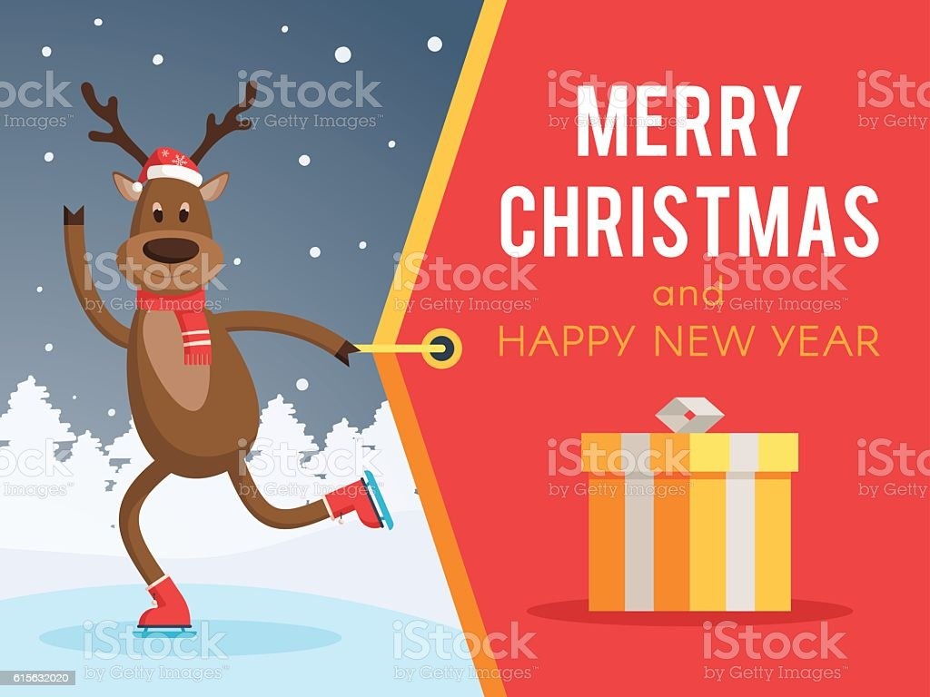 Christmas deer on skates banner vector art illustration