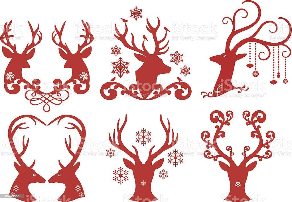 Christmas deer stag heads royalty-free stock vector art