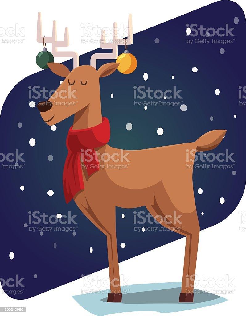 Christmas deer vector art illustration