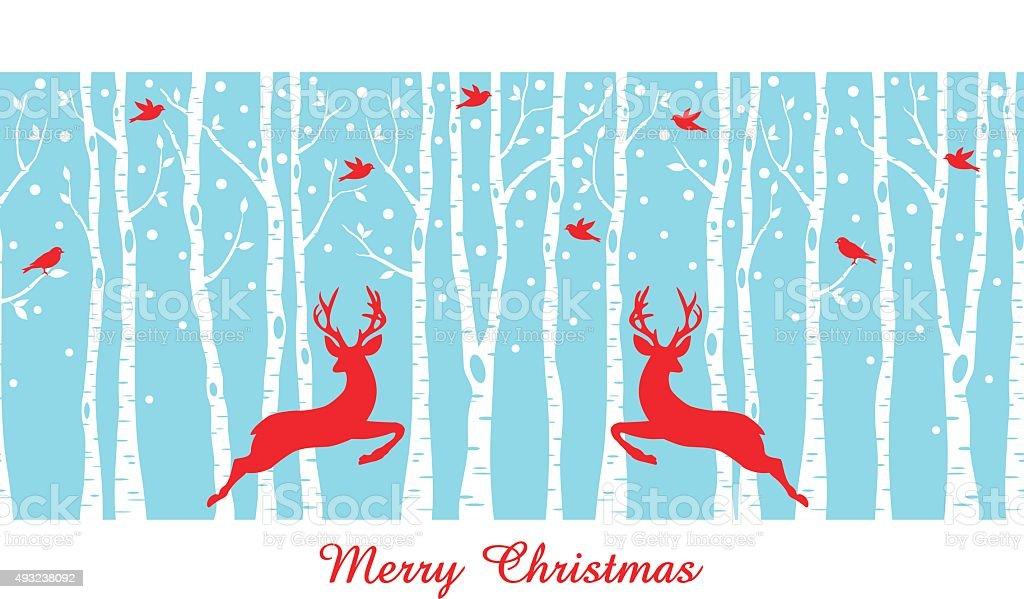 Christmas deers in birch tree forest, vector vector art illustration