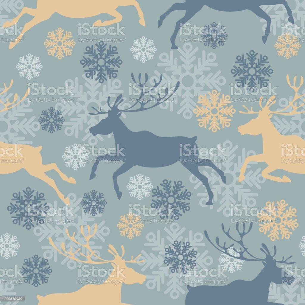Christmas deers seamless pattern vector art illustration