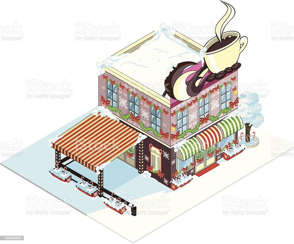 Christmas design Caffee isometric building. royalty-free stock vector art
