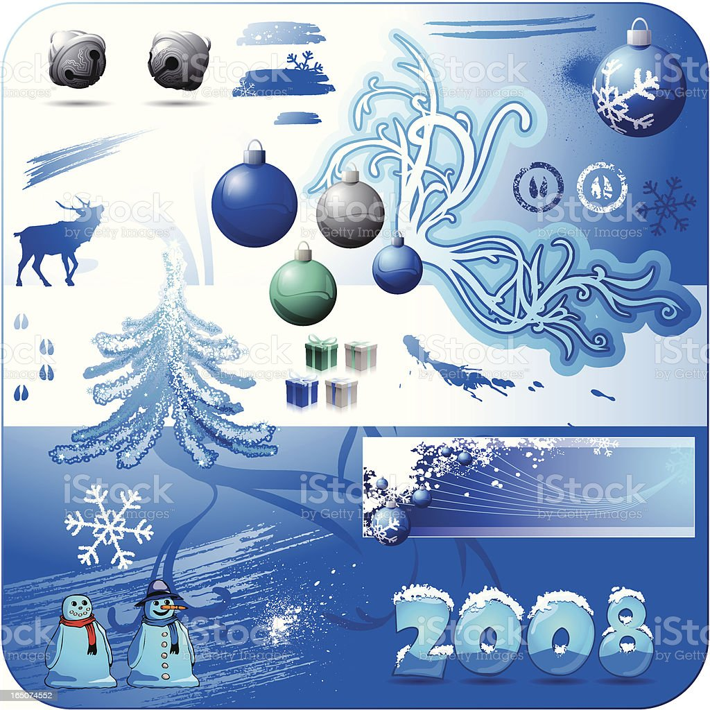 Christmas Design Elements 2008 Blue royalty-free stock vector art