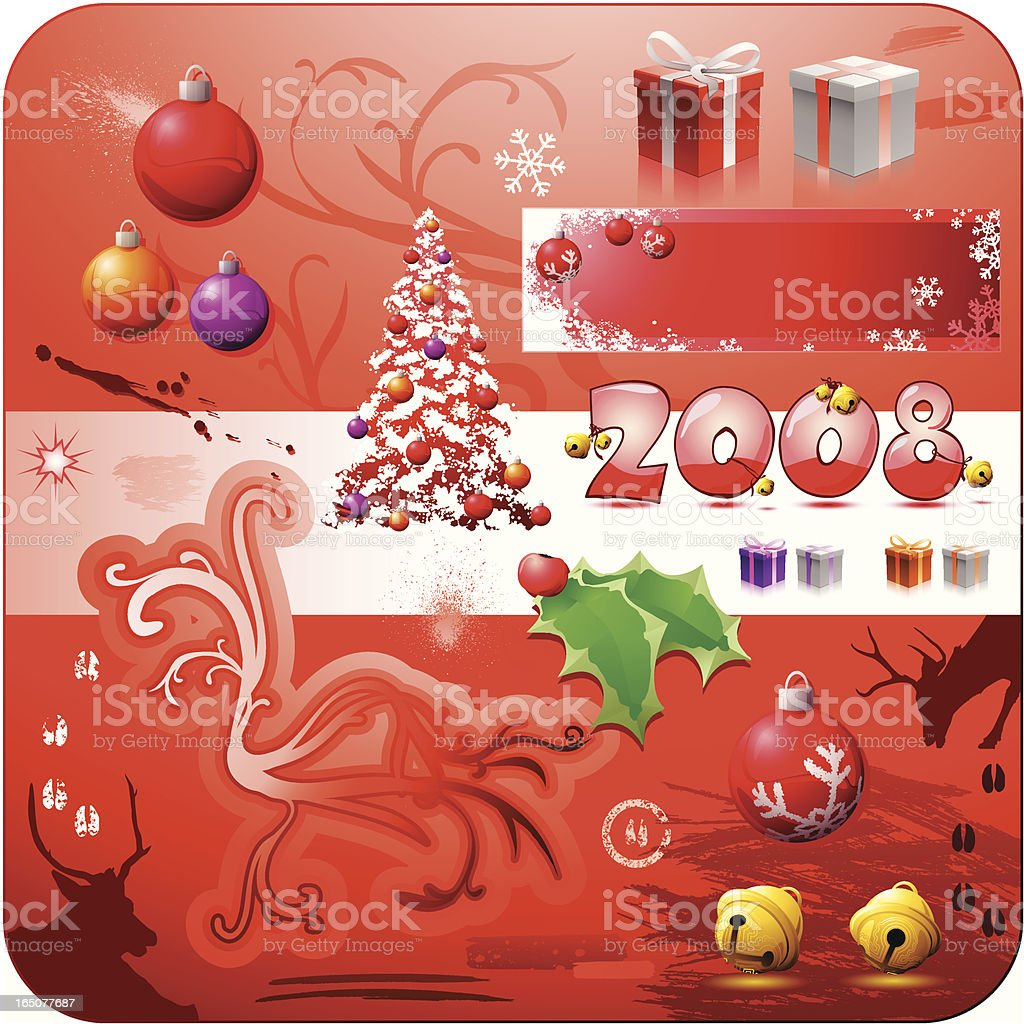 Christmas Design Elements 2008 Red royalty-free stock vector art