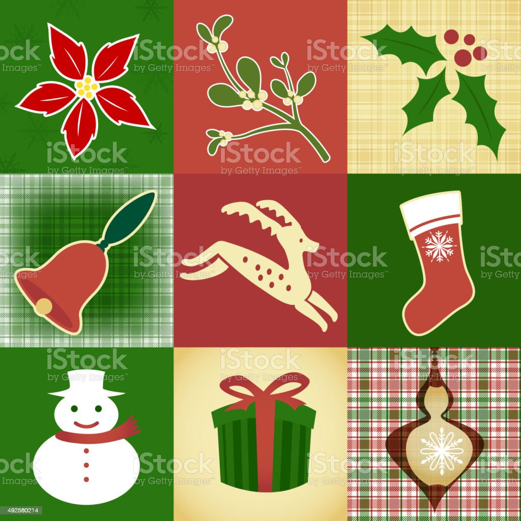 Christmas design elements and pattern vector art illustration