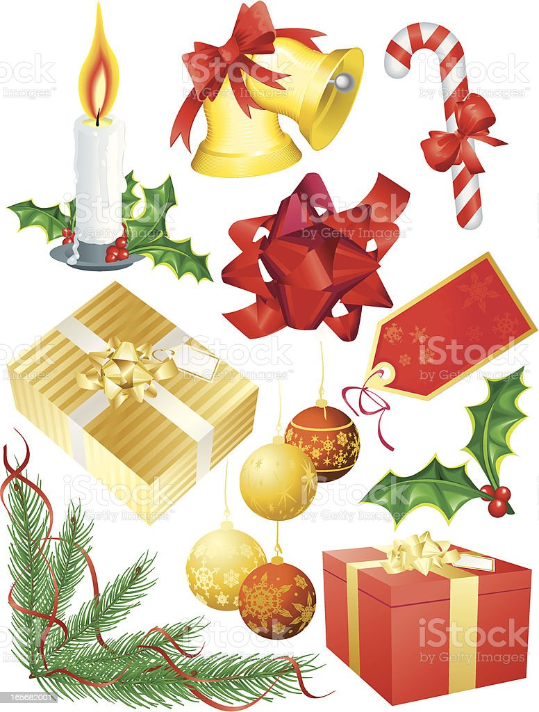 Christmas Design Elements Bell, Presents, Decoration and Candle Vector royalty-free stock vector art
