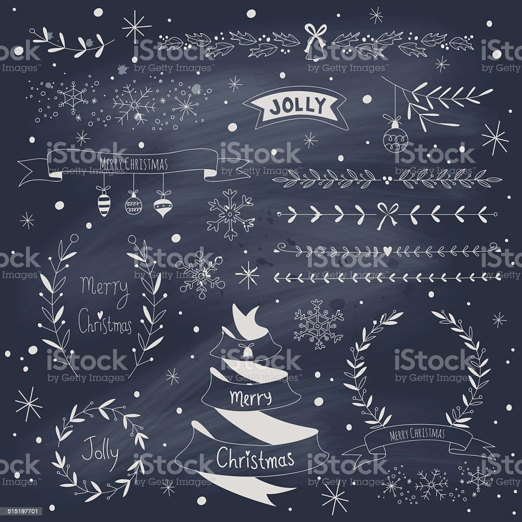 Christmas design elements set on blackboard vector art illustration