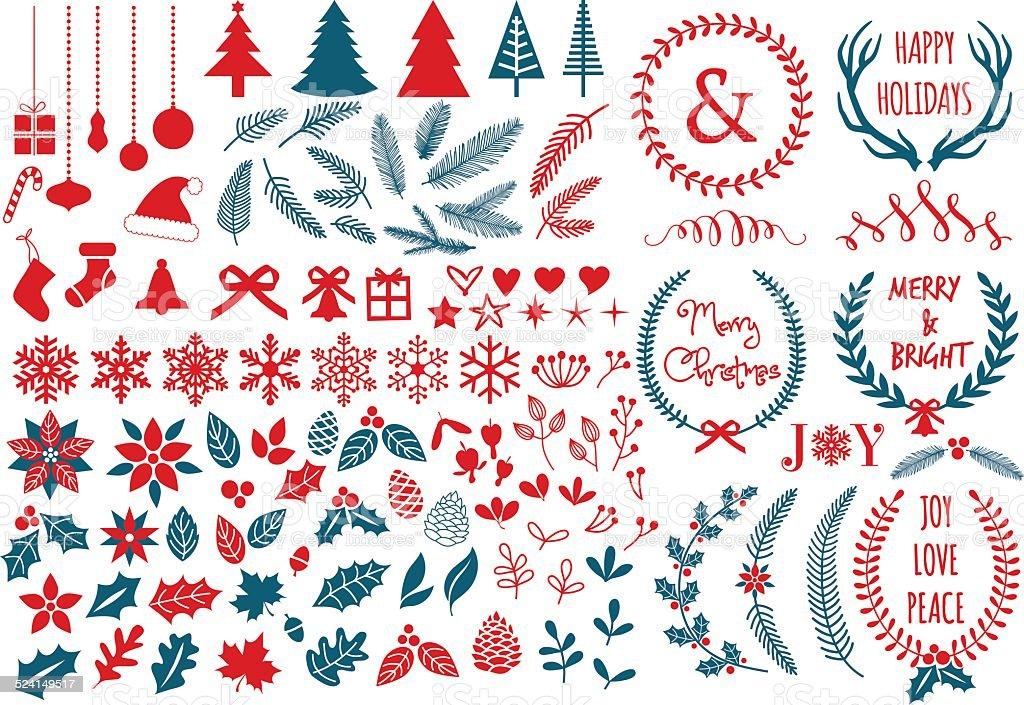 Christmas design elements, vector set vector art illustration