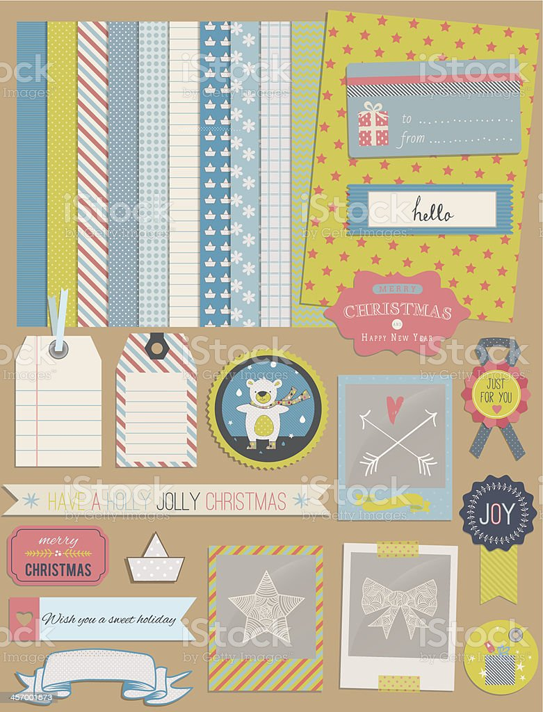 Christmas Design Elements with teddy bear vector art illustration