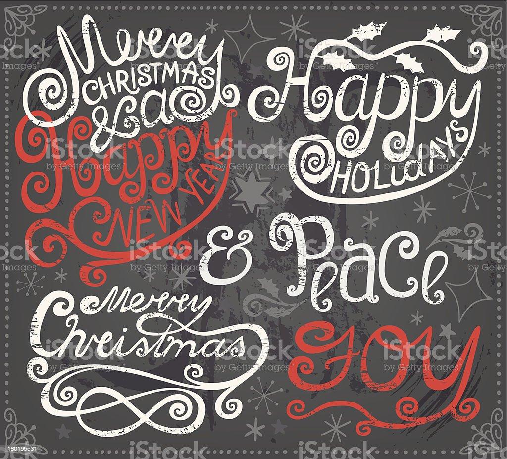 Christmas Design Greetings and Elements on Blackboard vector art illustration
