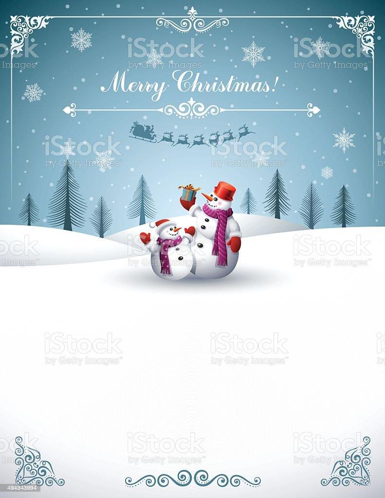 Christmas Design with Snowmen vector art illustration