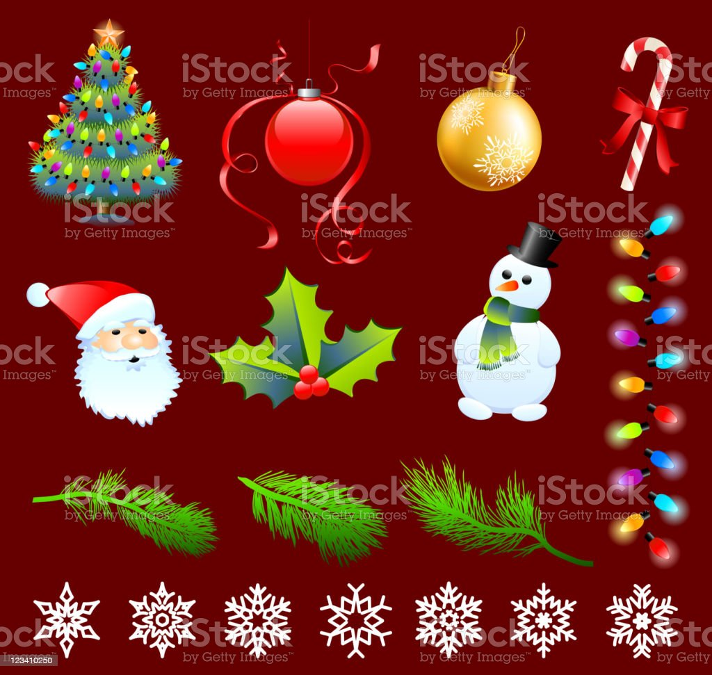 Christmas designs on red royalty-free stock vector art