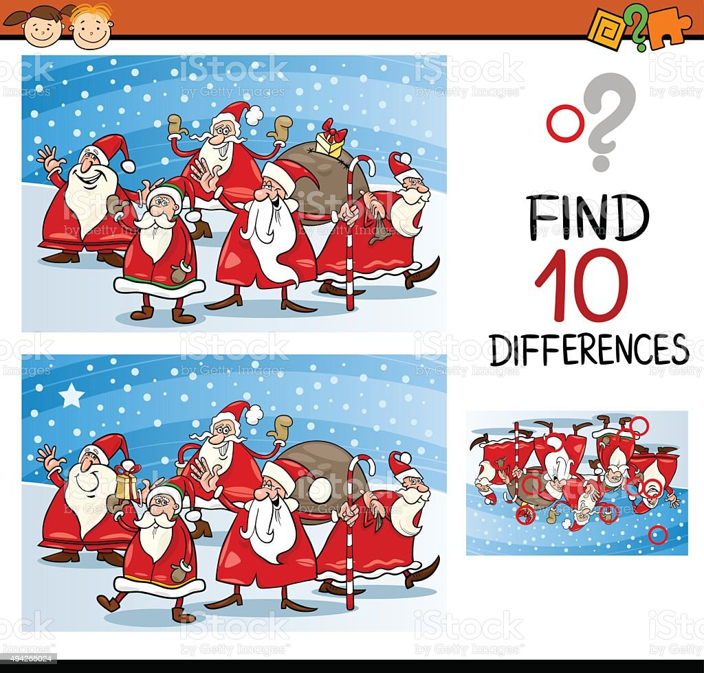 christmas differences task for kids vector art illustration