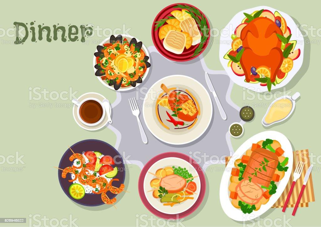 Christmas dinner icon for festive menu design vector art illustration