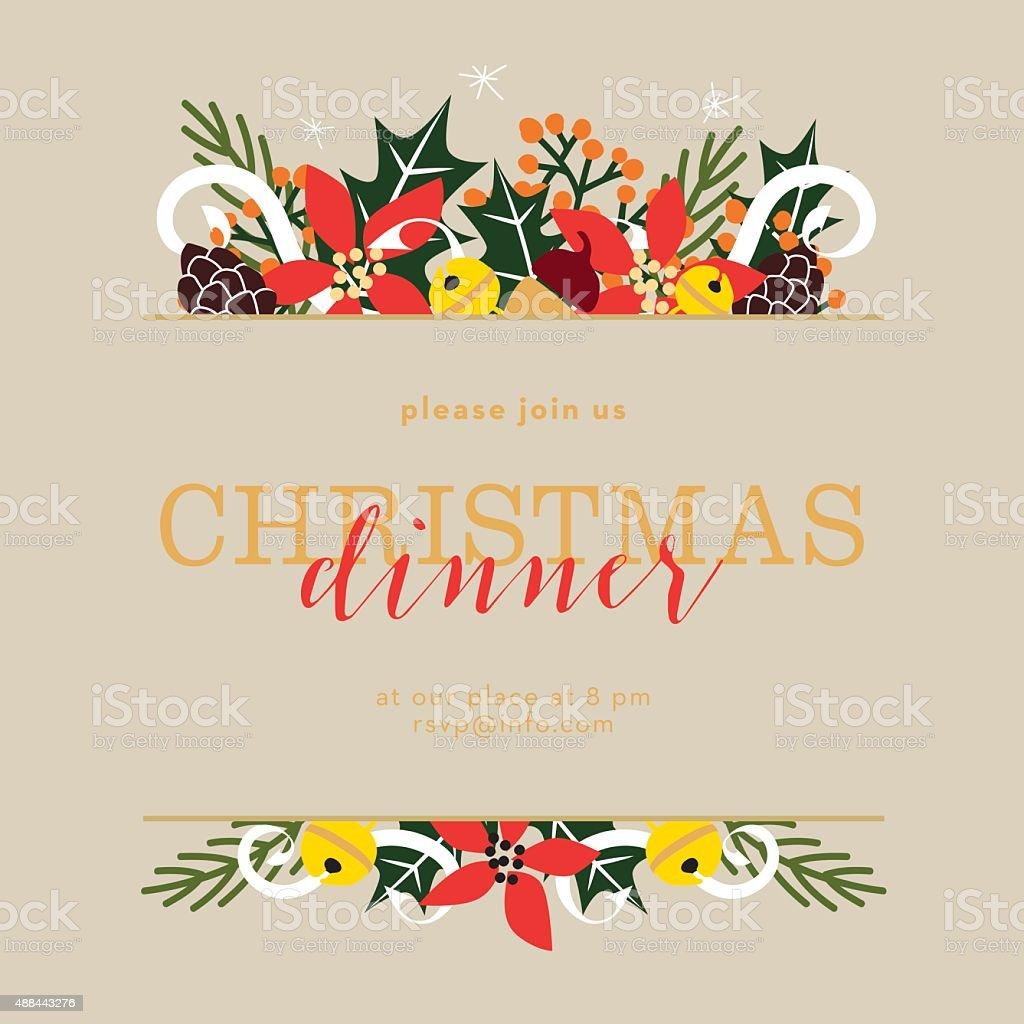 Christmas dinner invitation card on beige background vector art illustration