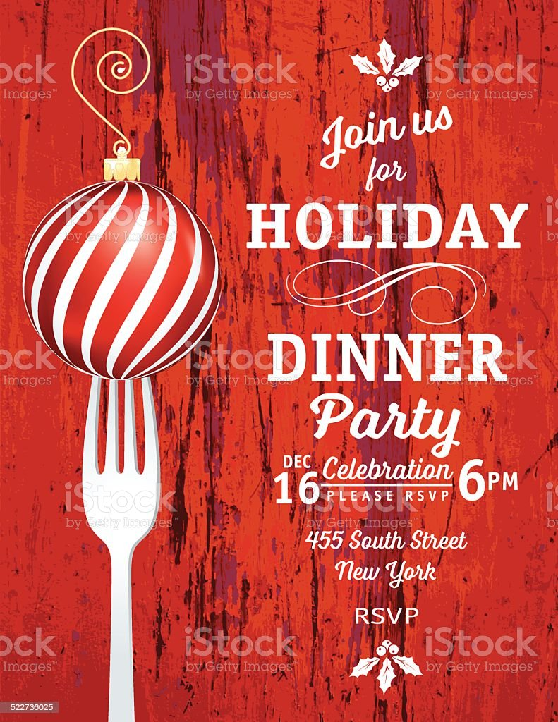Christmas Dinner Invitation Template With Ornament and Fork vector art illustration