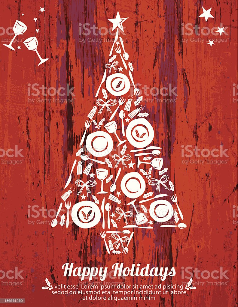 Christmas Dinner Invitation Wood Background vector art illustration
