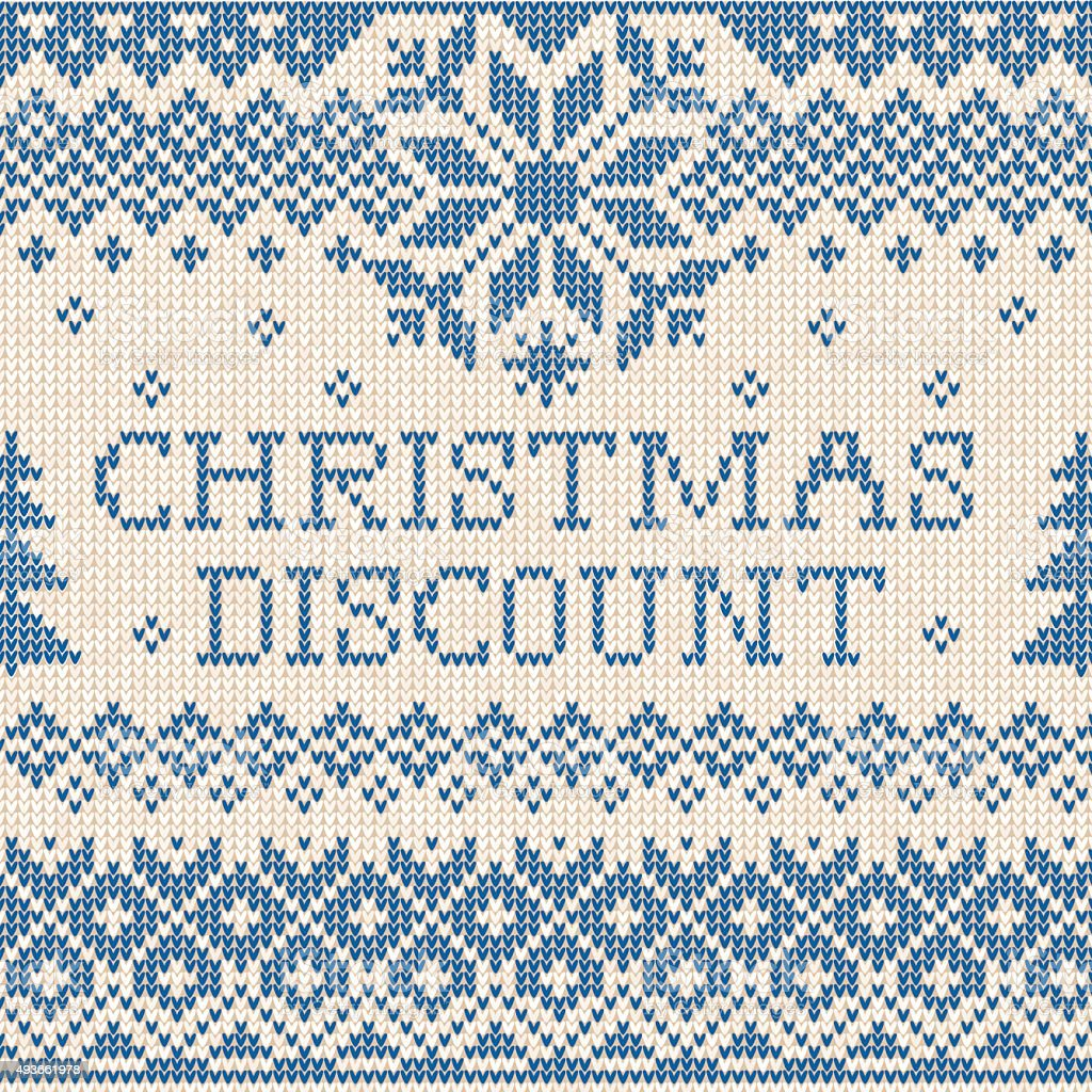 Christmas discount: Scandinavian style knitted embroidery vector art illustration